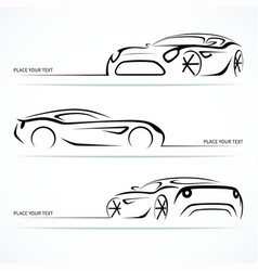 Set of modern car silhouettes vector