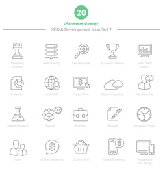 Set of Thin Line SEO and Development icons Set 2 vector image vector image