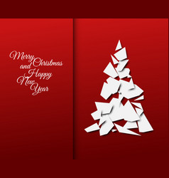 Simple christmas tree made from papers vector
