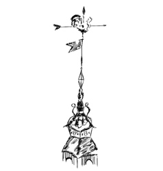 Sketch of old chicken metal weather vane vector