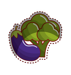 Sticker broccoli and eggplant vegetable icon vector