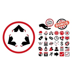 Tent camp flat icon with bonus vector