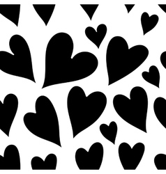 Seamless monochrome pattern with hearts vector