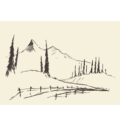 Drawn landscape hills rural road sketch vector