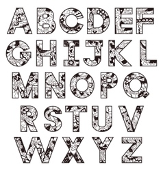 Black-and-white alphabet vector