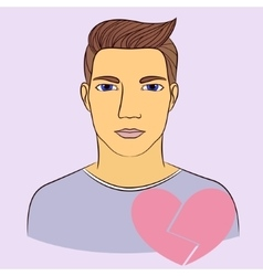 Man with broken heart vector image