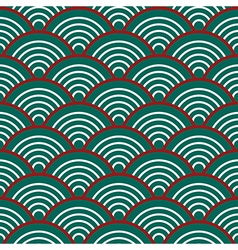 Green red white traditional wave japanese vector