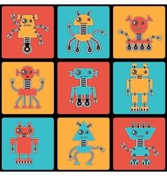 Cartoon robots seamless pattern vector image