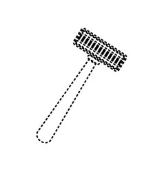 Safety razor sign black dashed icon on vector
