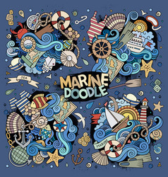 Marine nautical doodles design vector