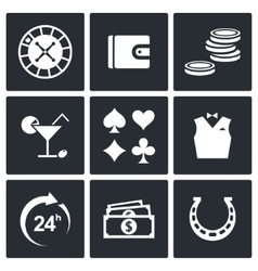 Casino and luck icon set vector