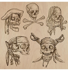 Pirates - skulls collection line art vector