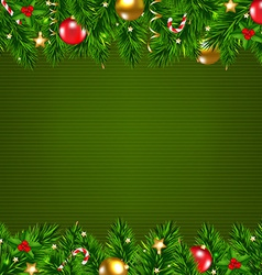 Dark Green Retro Card With Fir Tree vector image