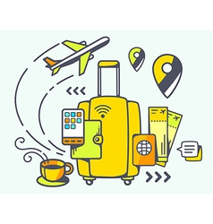 Yellow suitcase and travel accessories vector
