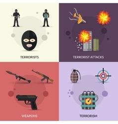 Terrorism flat set vector