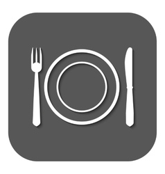 The plate dish with fork and knife icon vector