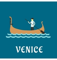 Venetian gondolier flat travel design vector