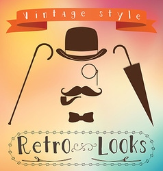Retro gentleman elements set - bowler moustache vector