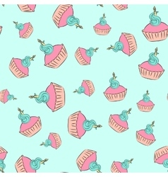 Seamless cupcake pattern with blue background vector