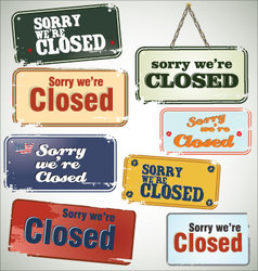 Vintage sign closed vector