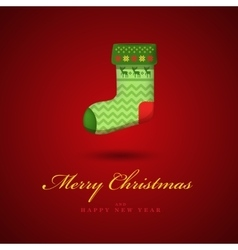 Christmas bright green gift sock red vector