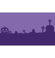 Pumpkins halloween in tomb silhouette vector