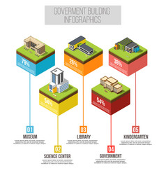 administrative building isometric infographics vector image