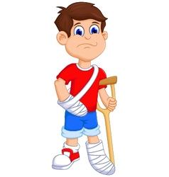 Boy cartoon broken arm and leg vector image