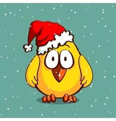 Christmas chicken in hat vector