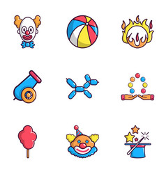 Clown show icons set flat style vector