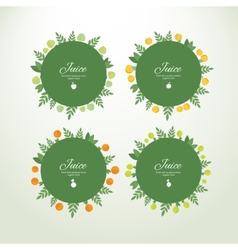 Collection labels with fresh fruits vector image