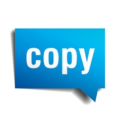 Copy blue 3d realistic paper speech bubble vector image vector image