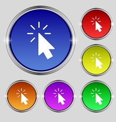 Cursor icon sign round symbol on bright colourful vector