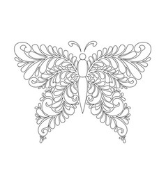 cute cartoon butterfly with ornament background vector image