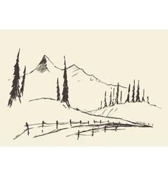 Drawn landscape hills rural road sketch vector