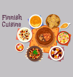 finnish cuisine traditional dishes icon design vector image