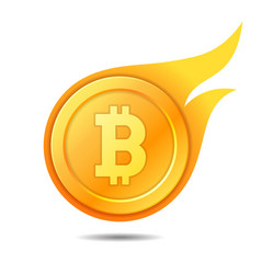 Flaming bitcoin symbol icon sign emblem vector