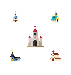 Flat icon church set of traditional religion vector