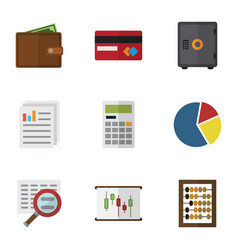 Flat icon finance set of scan counter graph and vector