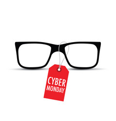 glasses with a cyber monday tag vector image vector image