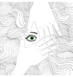Hand-drawing beaty woman portrait vector