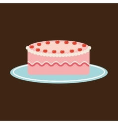 Hand holding a tray of strawberry cake vector