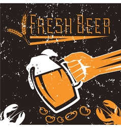 hand with a glass of beer on grunge background vector image