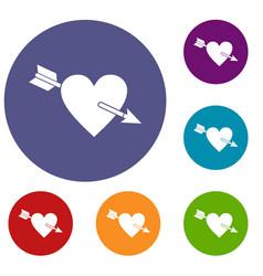 Heart with arrow icons set vector