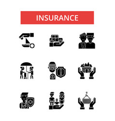 insurance thin line icons linear vector image vector image