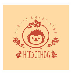 kids club logo with hedgehog cute kindergarten vector image