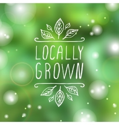 Locally grown - product label on blurred vector image vector image