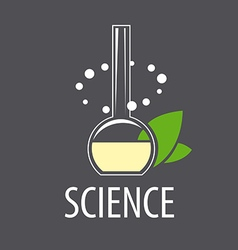 Logo test tube with liquid and leaves vector