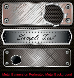 metal banners vector image vector image