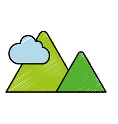 Mountains and cloud icon vector